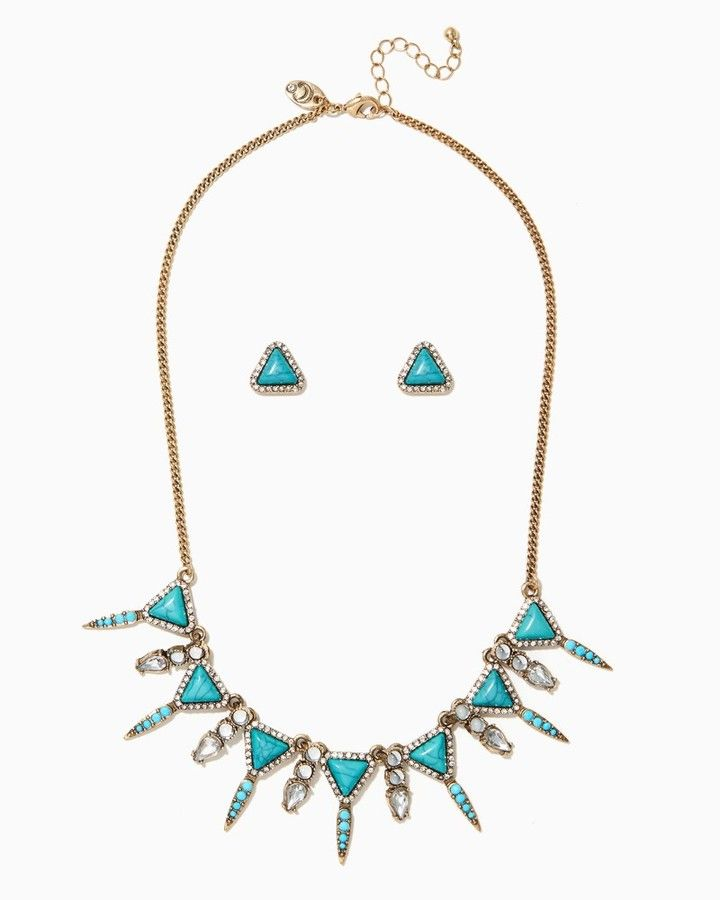 Charming charlie Turquoise Spikes Necklace Set