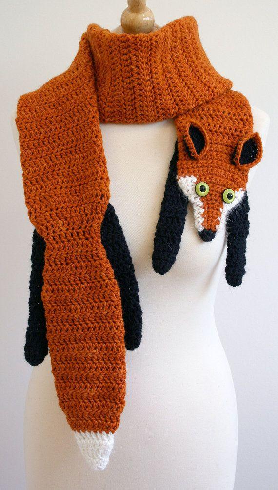PDF Crochet Pattern for Fox Scarf DIY von BeesKneesKnitting