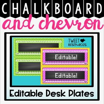 Decorate your classroom this school year with these stylish EDITABLE desk plates 13 different colored desk plates options are included in this package, and each desk plate comes with editable LINED and NON-LINED font options!
