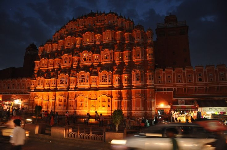 The Hawa Mahal all lit up on a balmy evening in Jaipur.  #ColourfulHorizons