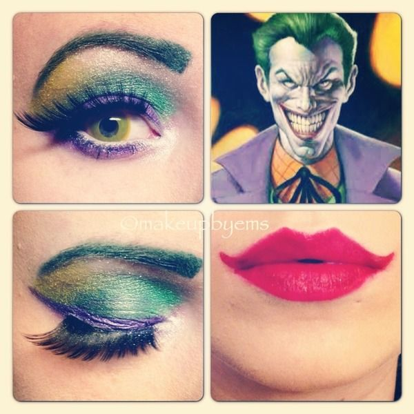 Joker makeup for women. I actually like the colors a lot. Maybe i would just do the lips normal to make it mote wearable. It could be great for halloween too.