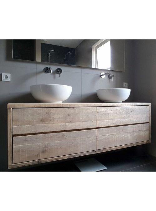 nuovo mobile da bagno sospeso con cassettone costruito interamente in legno massello nel colore simile alla