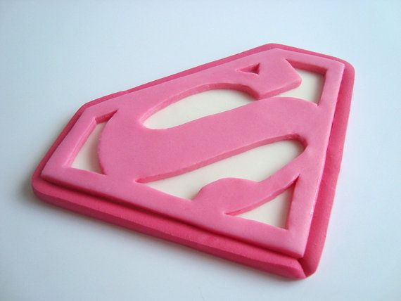 Supergirl Fondant Edible Cake Topper, Superman Logo Edible ...