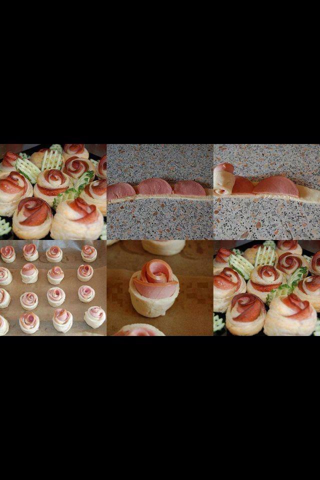 Petites roses au jambon pour apéritif.  En images. Pas de recette.