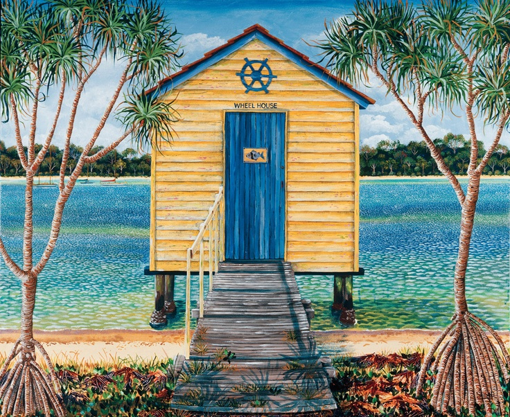 Wheelhouse: painting on stretched canvas. 101 x 84cm. Boathouse on the Marroochy River, Queensland.   sarina.net
