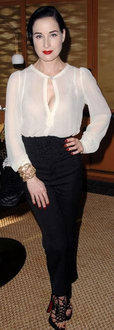 Who made Dita Von Teese's black pants, white top, shoes and jewelry that she wore in Silver Lake on November 13, 2011?
