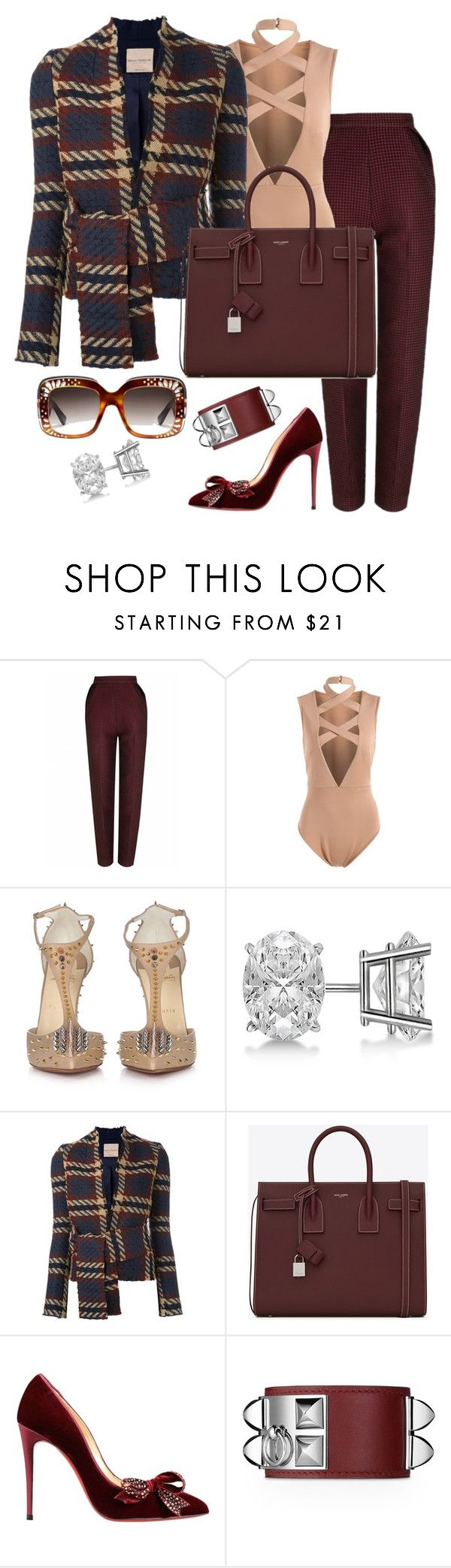"""""""Untitled #1383"""" by fashionkill21 ❤ liked on Polyvore featuring The 2nd Skin Co., Christian Louboutin, Allurez, Erika Cavallini Semi-Couture, Yves Saint Laurent and Gucci"""