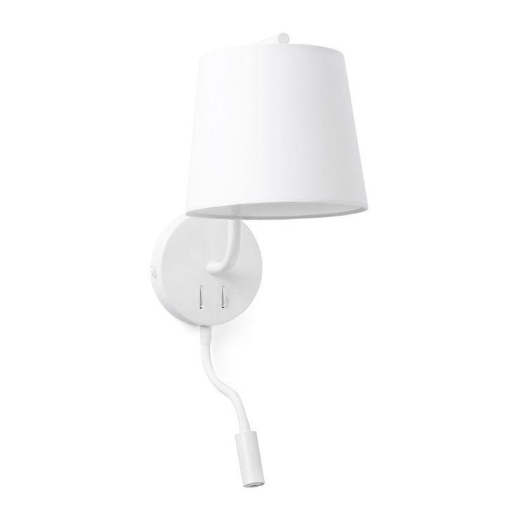 Comprar lámpara de pared con lector LED blanca Berni de Faro | Comprar lámparas de pared clásicas económicas | Lámparas e iluminación #lamparas #interiorismo #decoracion #diseño #arquitectura #iluminacion #apliques