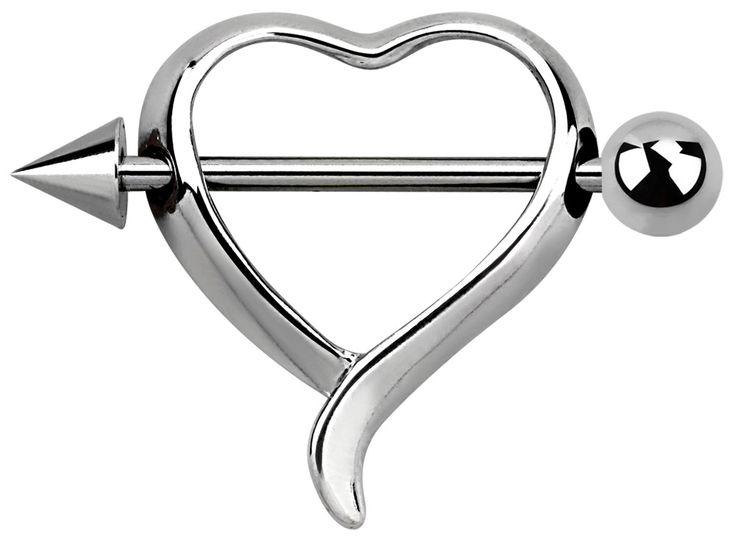 Bild von Brustpiercing Schmuck Brust Schild Herz mit Pfeil in 1,6 x 14 mm #brustpiercing #brustwarzenpiercing #brustschild #piercing