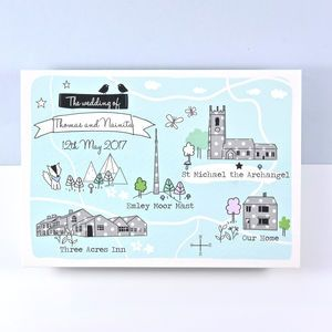 Bespoke Illustrated Map Wedding Invitation   Invitations