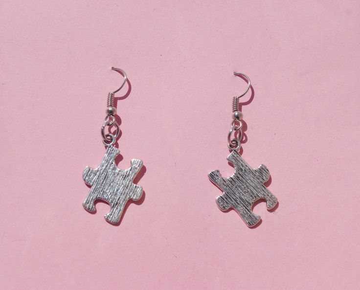 The missing puzzle - puzzle earrings - dangle earrings - puzzle dangle earrings by leonorafi on Etsy