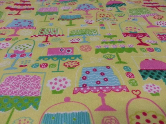 Multicolor Cakes Yellow Flannel USA Handmade by ArvillaRuby