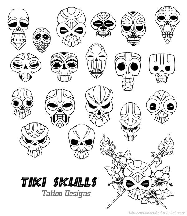 TikiTiki tiki skull tattoo designs by `Zombiesmile