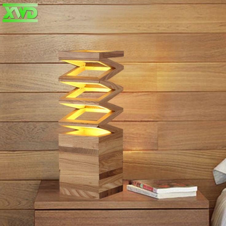 Современные Весна образный Деревянный Стол Лампа Держатель E27 Лампа 110 240 В Салон Крытый Исследования Настольный Освещение Бесплатно доставка купить на AliExpress