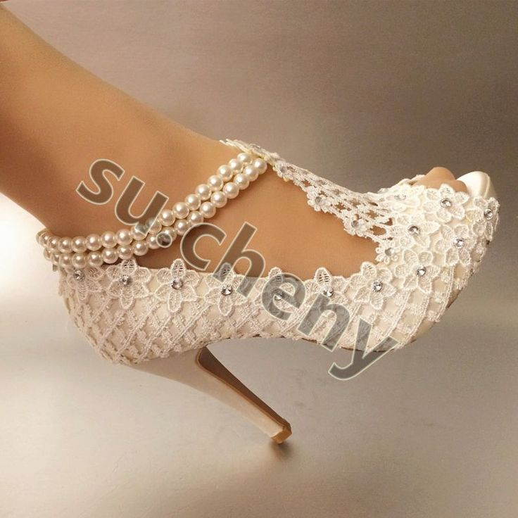 """3"""" 4"""" heel silk white ivory lace open toe pearls anklet Wedding shoes size 5-11"""