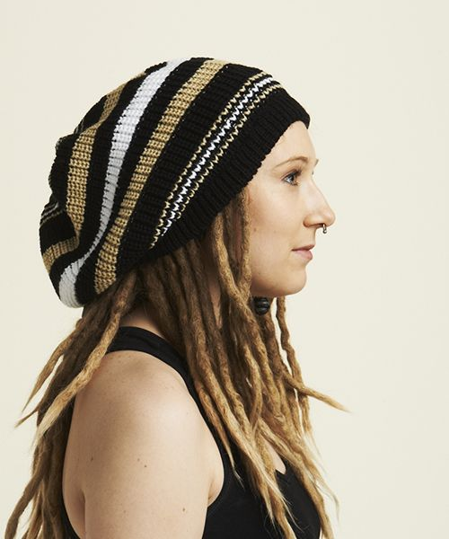 Keep your dreads in place and your head warm while looking cool =)  Are you struggling to find a slouchy beanie hat to fit over your dreadlocks? We've designed this slouchy beanie hat in blue with you in mind. You don't have to look any further, we have the perfect knitted beanies for you!