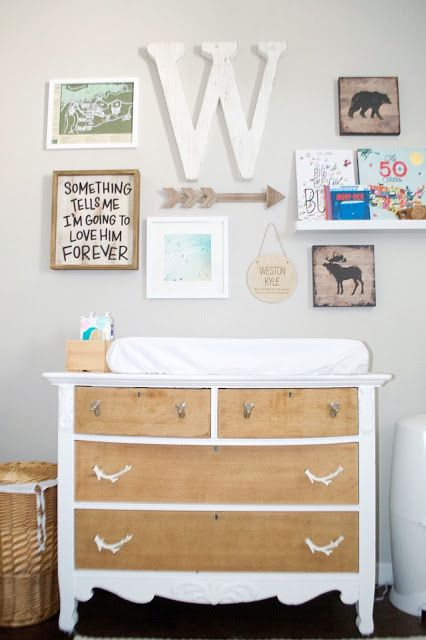 the Three Little Birdies. Woodsy Boy Nursery. Rustic changing table with a wall collage above.