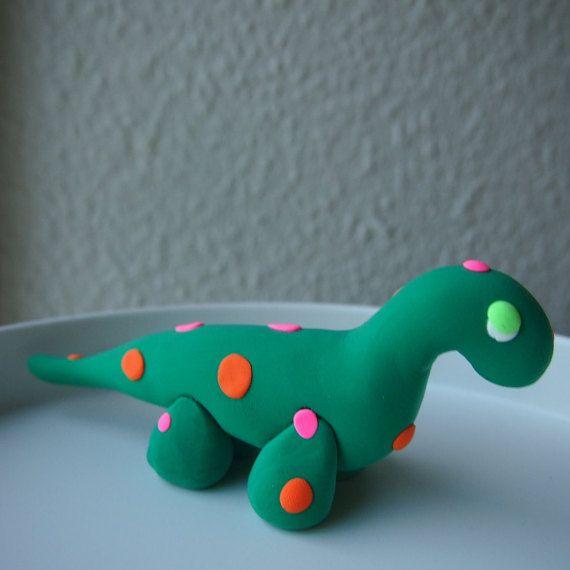 OOAK Cute Soft Clay Dinosaur Figurine 13 cm by Anorichan on Etsy