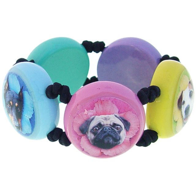 The bracelets are made of resin with black satin cord in between each round bead. Images of Jack Russell, Boston Pug, Bull Dog and Mini Pinscher. Multi colored beads - 5 on these bracelets, hand made.  Price : $ 49.00 per bracelet  Shipping : 4 Dollars including Canada  email: poochparkwear@gmail.com
