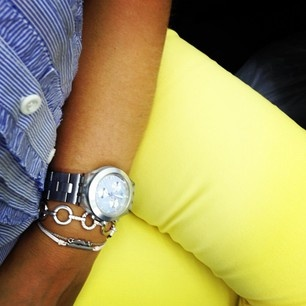 Yellow pants and striped shirt