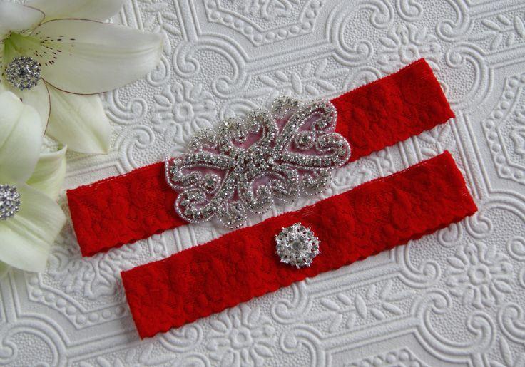 Bridal garter set/Something new/Rhinestone garter/Lace garter/Prom garter/aqua garter/red garter set/red garter/bridal garter by iweddingworld on Etsy