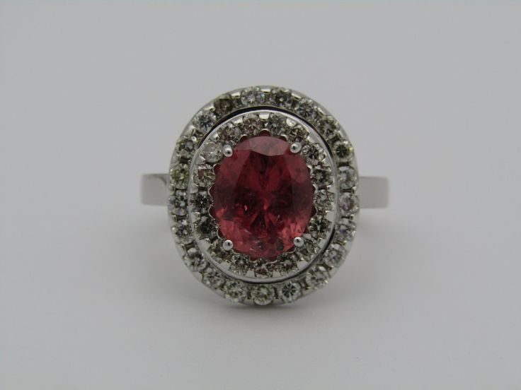 18kt gold pink sapphire and diamond ring.