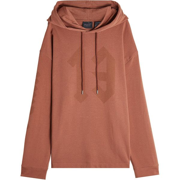 FENTY Puma by Rihanna Cotton Hoody (€101) ❤ liked on Polyvore featuring tops, hoodies, brown, brown hoodie, puma hoodie, boxy top, brown hoodies and pattern hoodie