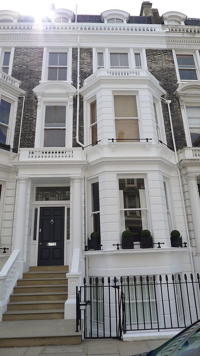 Freddie Mercury lived at 12 Stafford Terrace in Kensington, London, before moving into Garden Lodge