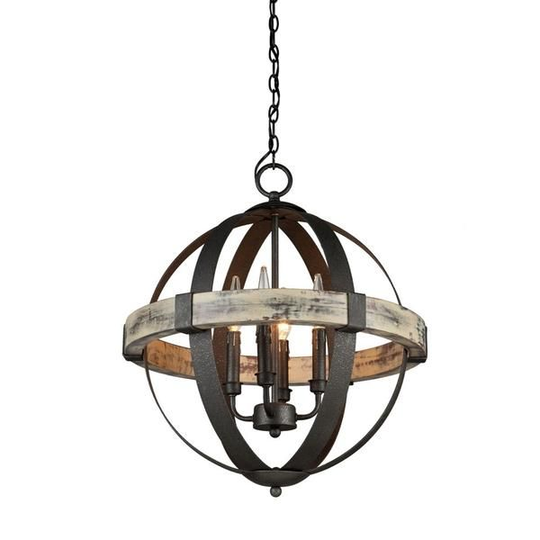 FREE SHIPPING. Purchase the 6 light rustic elegant Castello Orb Chandelier in black wrought iron and authentic aspenwood for your metal and wood lighting today at lightingconnection.com. Artcraft Lighting AC10016