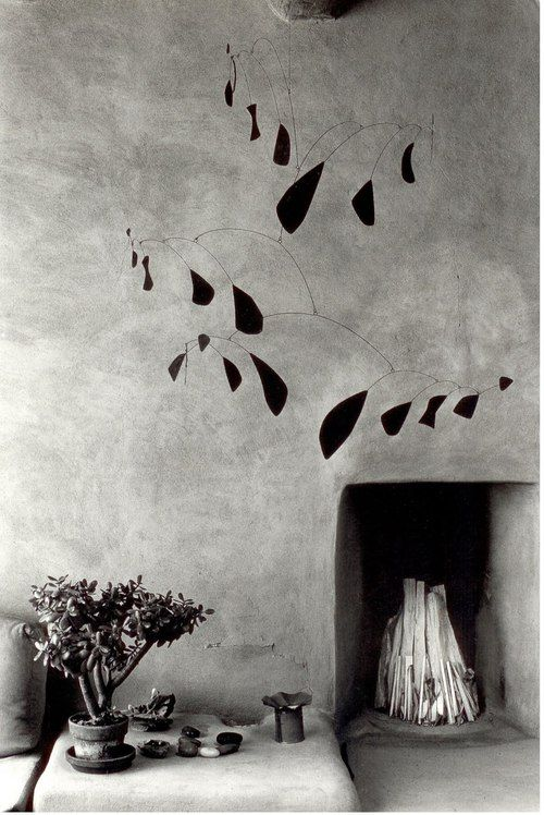 Myron Wood (1921-1999): Mobile by Alexander Calder   Georgia O'Keeffe's house in Abiqui, New Mexico, 1980