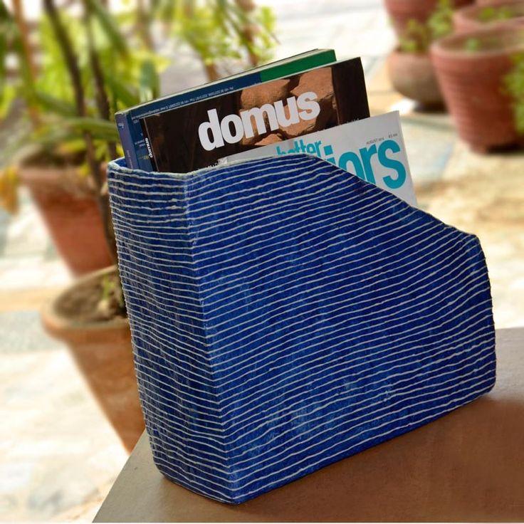 Papier Mache Royal Blue Newspaper Cum Magazine Stand | #simple #Decor #DeskAccessories #simple, #Decor, #DeskAccessories,
