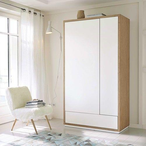 Dressing en chêne massif blanc L 110 cm Réf. 155919 Dimensions (cm) : H200 x L110 x PR55 Poids : 132 Kg