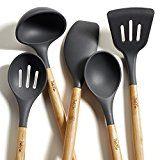 PortoFino 5 Pc. Eco-Friendly Bamboo and Silicone Kitchen Utensil Set, Gray