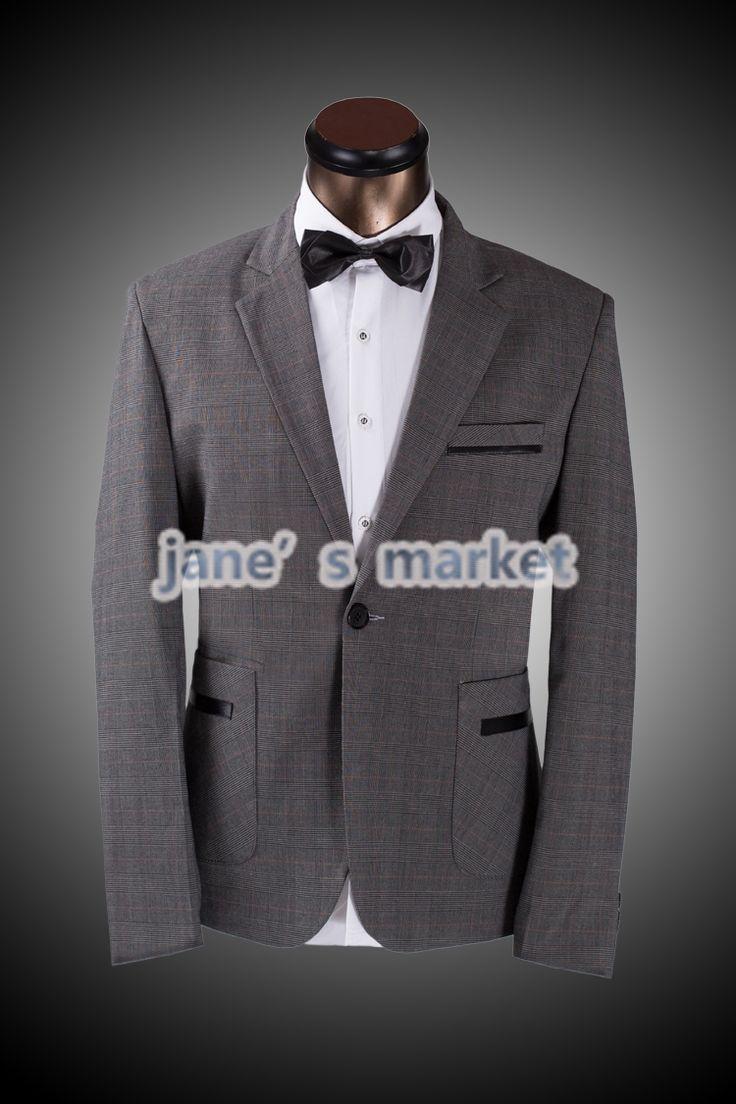 only $66.54 Pockets Plaid Casual Men's Suit Coat With Pants Custom Size  XXXXL Plus Winter Man