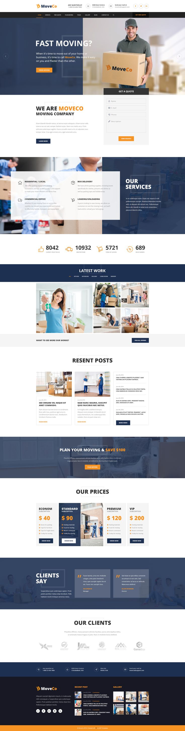 MoveCo is premium PSD theme for moving company, local delivery service or…