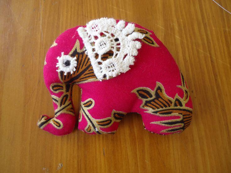 Elephant with lace ears, made from batik material.