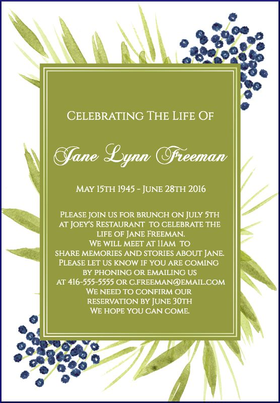 29 best Funeral Reception Invitations images on Pinterest - memorial service invitation wording