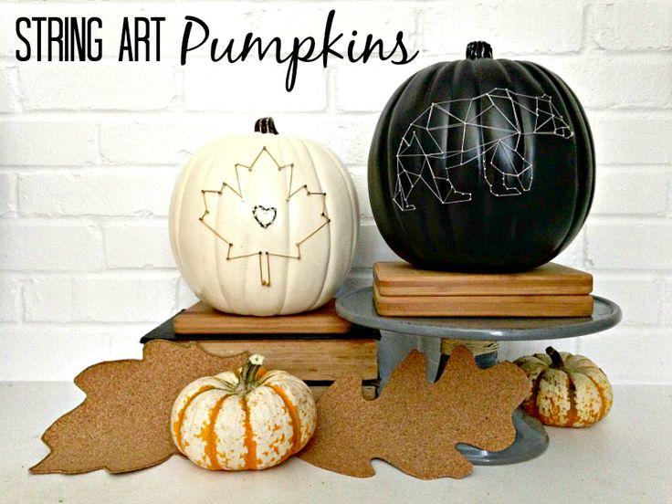 Easy String Art Pumpkins #diy #pumpkins #falldecor