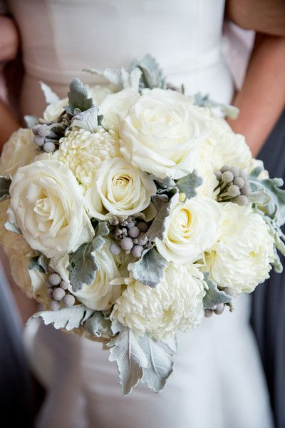 Winter white wedding bouquet white roses chrysanthemums silver
