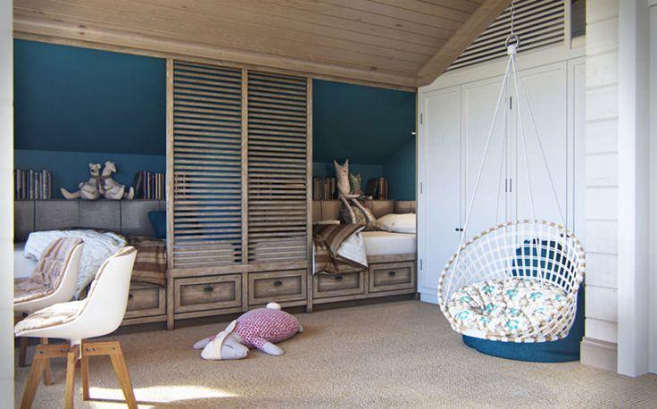 детская комната в стиле кантри с подвесным креслом
