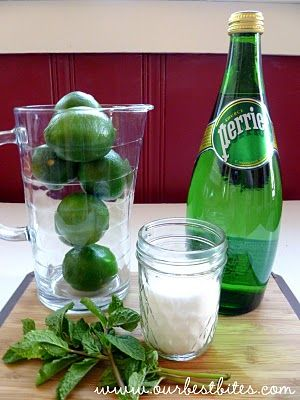 What will these 3 ingredients make? Anyone? ok, they will make a lime-mint spritzer....AKA the mojito virgen. But you can also make and orangina or even use lemons. How about omitting the citrus and using pomegranite necter, or anytype of nectar!