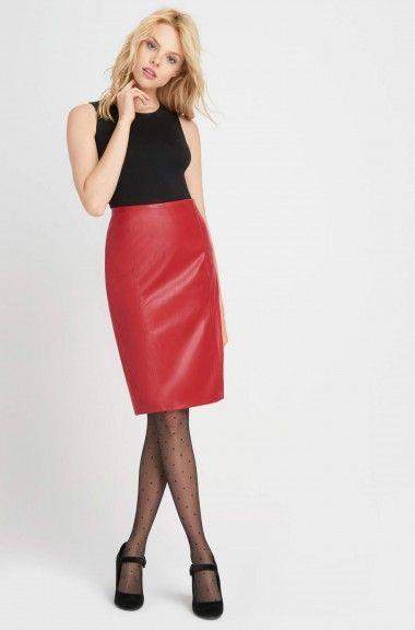 Puzdrová sukňa z eko-kože