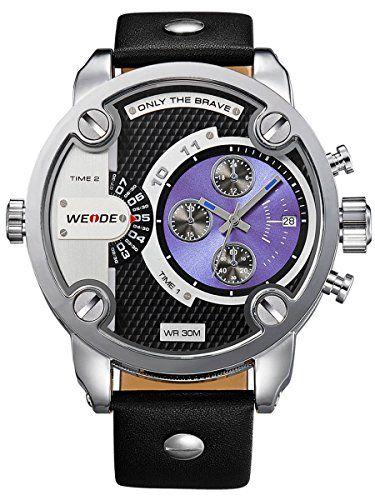 Alienwork DualTime Quarzuhr Armbanduhr Multi Zeitzonen Uhr XXL Oversized Leder blau schwarz OS.WH-3301-4 - http://uhr.haus/alienwork/alienwork-dualtime-quarzuhr-armbanduhr-multi-os