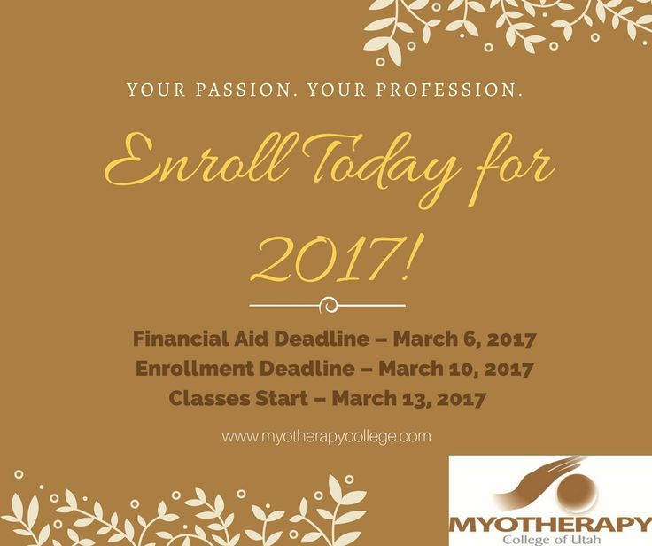 Enroll now! Gain the skills and experience to practice on a professional basis. Enrollment is simple! Visit www.myotherapycollege.com or Call us at (800) 511-5735