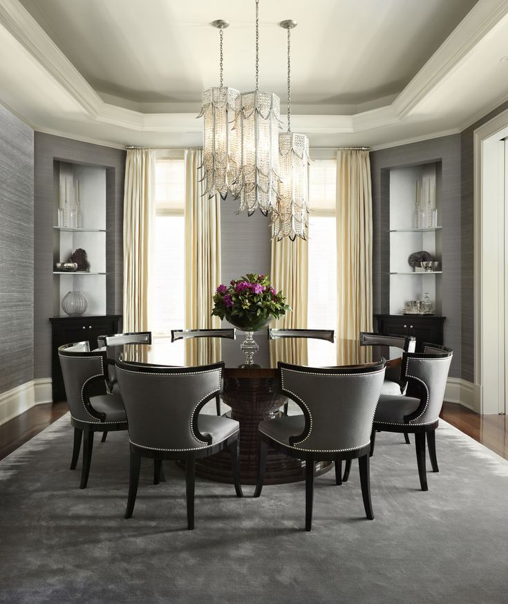 Burling Street Home grey and black with flower crystal chandelier. Neoclassical style.