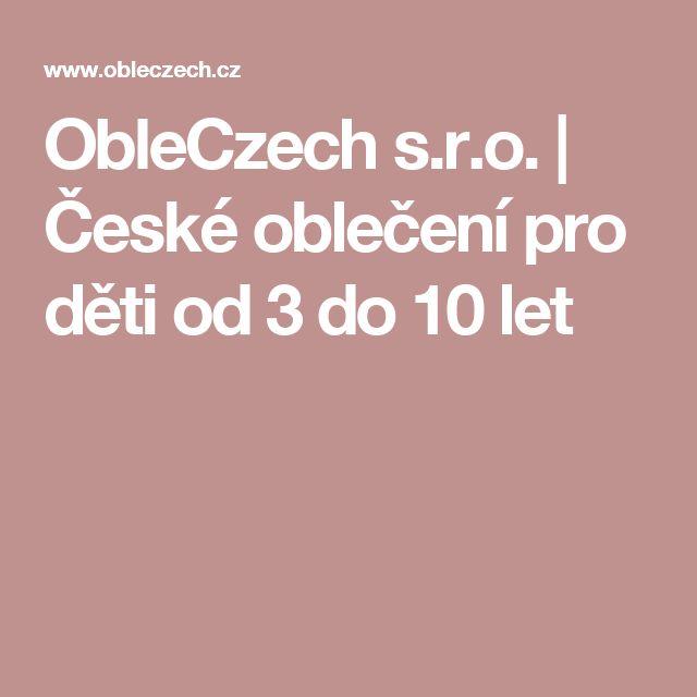 ObleCzech s.r.o. | České oblečení pro děti od 3 do 10 let