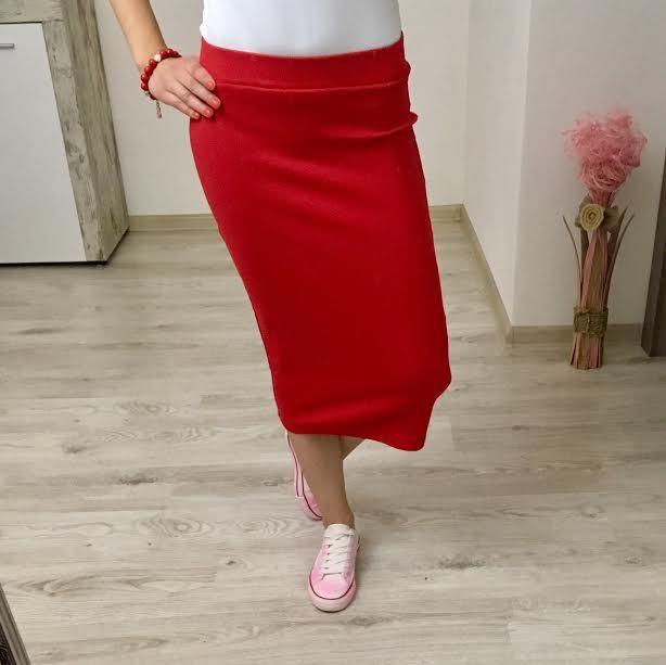 Tepláková sukňa červená