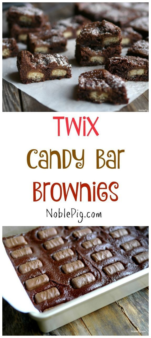 Twix Candy Bar Brownies are perfect for satisfying that sweet tooth from http://NoblePig.com.