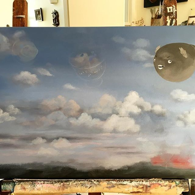 The sky is finally sorted (kind of 😞) and Puffy-Diddy the puffer fish is in full flight mode 🐡🐡🐡 Let's do this!  #wip #pufferfish #skyandclouds #beautifulnzclouds #painting #acryliconcanvas #instaart #paintingoftheday #daydream #progress #nzart #popsurealism