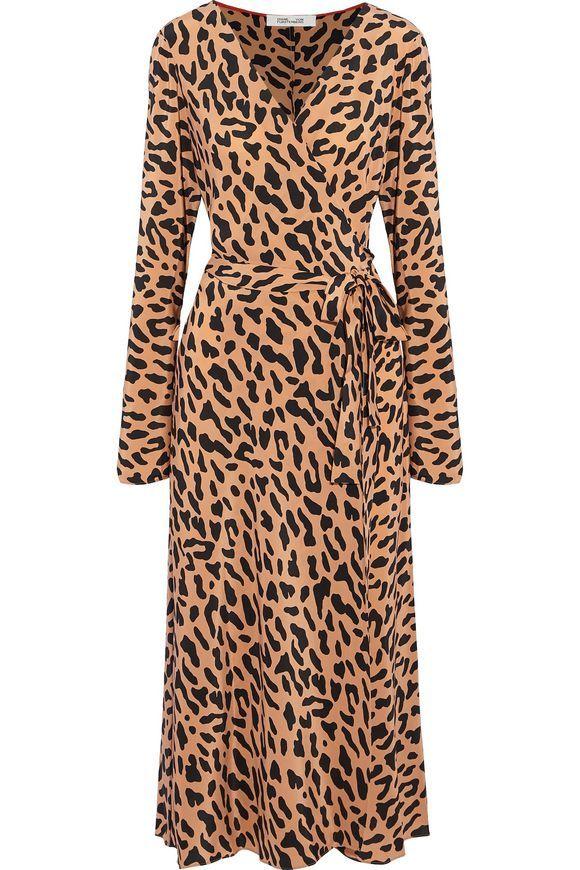 121b36829486 DIANE VON FURSTENBERG Leopard-print silk wrap midi dress | LOVE3 ...